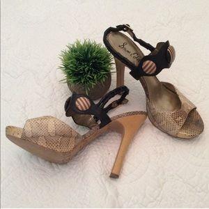 Sam Edelman strappy wood button heels